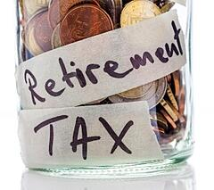 "A jar full of coins labeled ""Retirement Tax"""