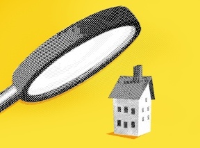 illustration - yellow background, giant magnifying glass examines real estate for prohibited transactions